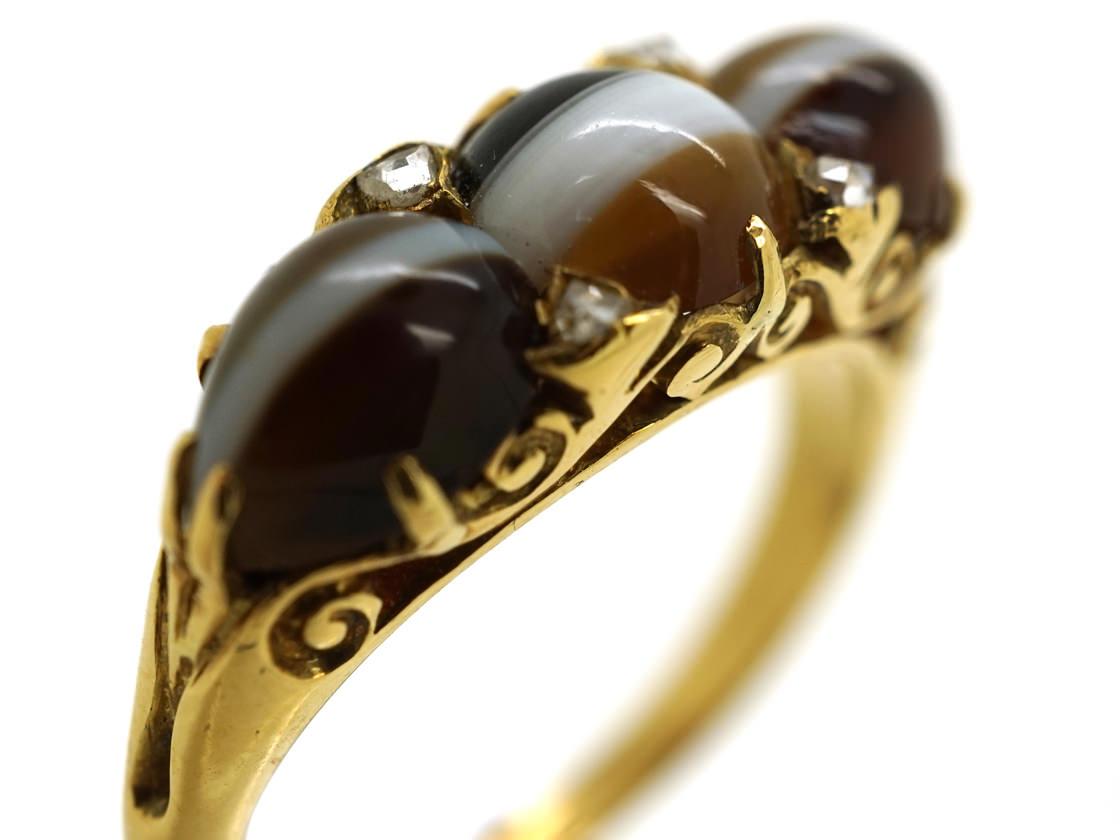Victorian 18ct Gold, Banded Sardonyx & Rose Diamond Ring