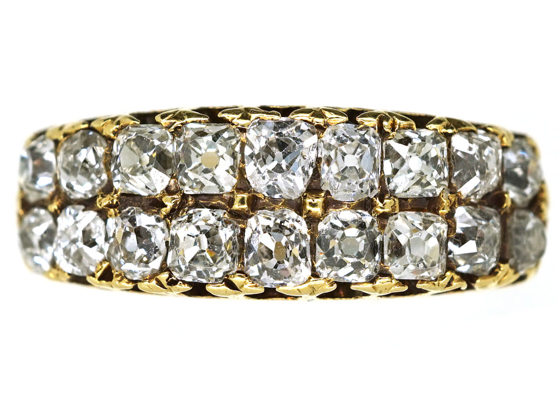 Victorian 18ct Gold Double Row Diamond Ring