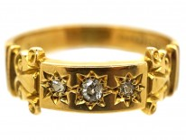 Edwardian 18ct Gold Three Stone Diamond Gypsy Ring