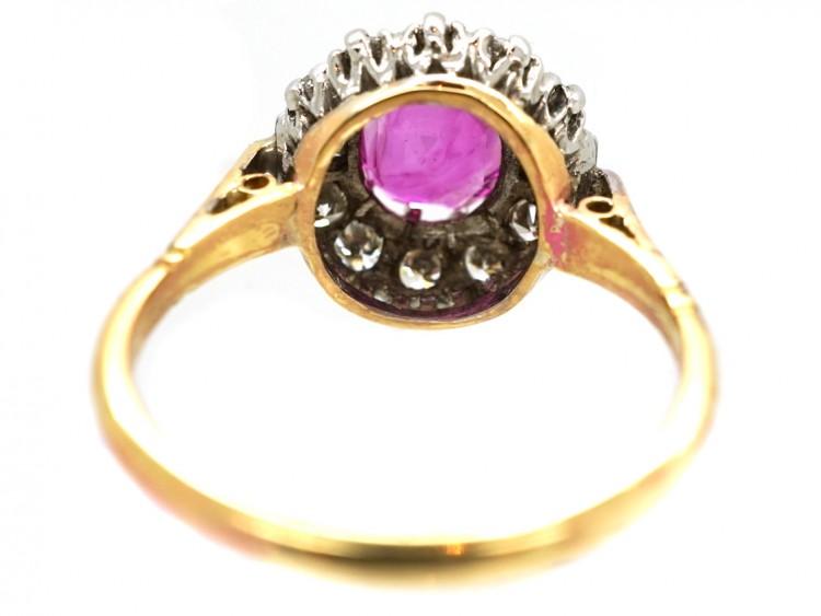 Art Deco Pink Sapphire & Diamond Ring