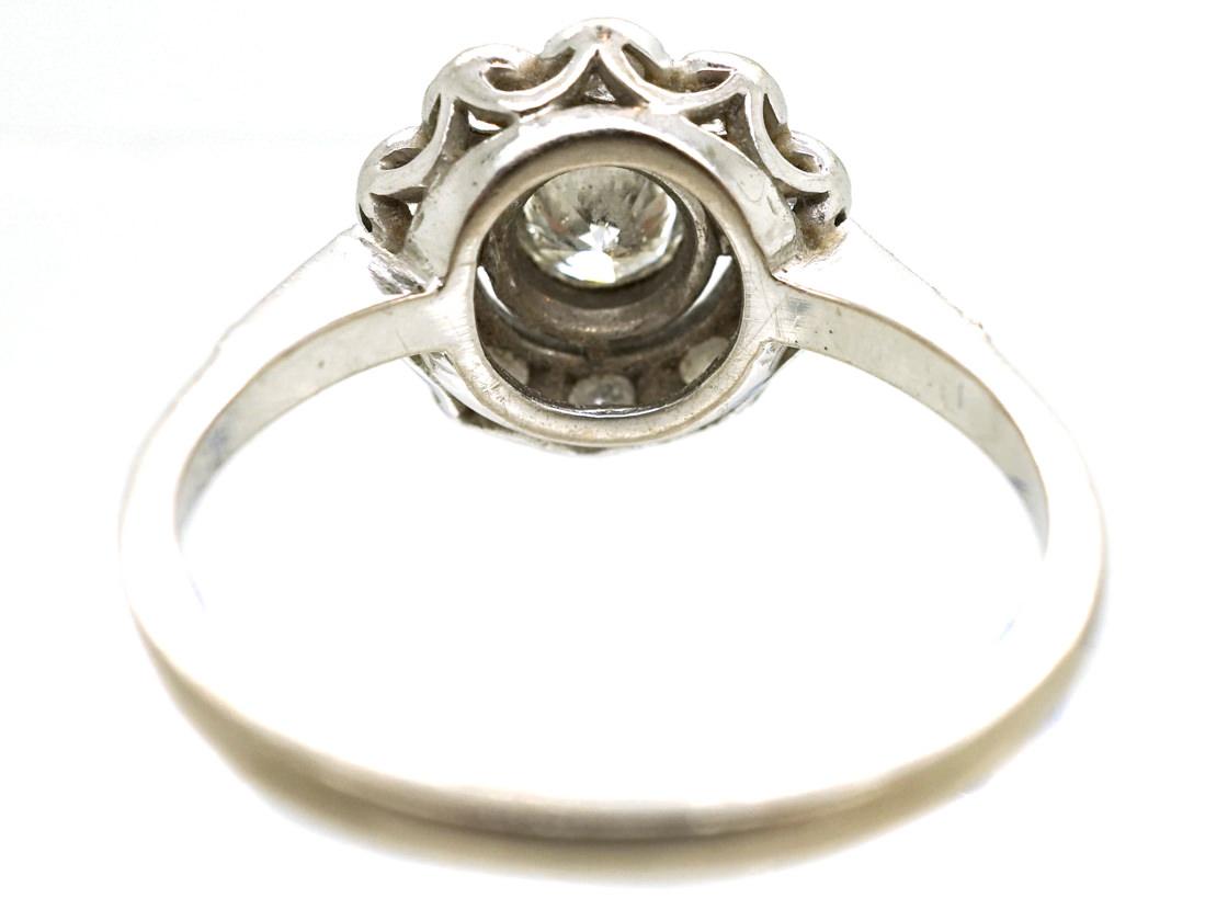 Edwardian 18ct White Gold & Diamond Cluster Ring