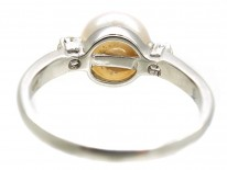 18ct White Gold Pearl & Diamond Ring