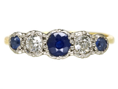 18ct Gold & Platinum, Sapphire & Diamond Five Stone Ring