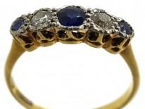 18ct Gold & Platinum, Sapphire & Diamond Five Stone Ring