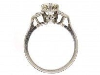 Art Deco Solitaire Ring With Diamond Shoulders