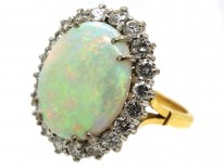 Large Opal & Diamond Cluster Ring