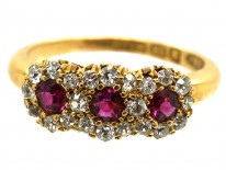 Victorian 18ct Gold, Ruby & Diamond Triple Cluster Ring