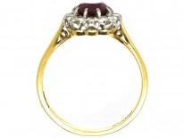 18ct & Platinum, Ruby & Diamond Cluster Ring