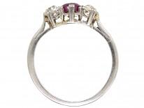 Platinum, Ruby & Diamond Three Stone Ring