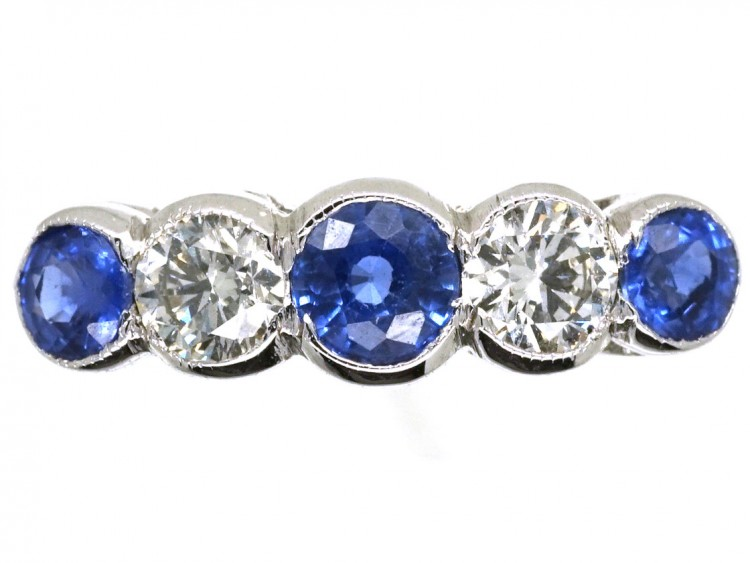 03791dea791b3 Edwardian 18ct White Gold Five Stone Sapphire & Diamond Ring - The Antique  Jewellery Company