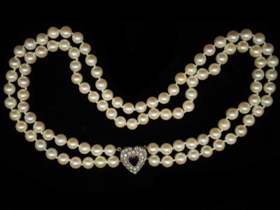Two Row Pearl Choker With a Heart Shaped Diamond & Sapphire Clasp