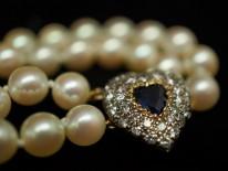 Two Row Pearl Choker With a Heart Shaped Diamond & Sapphire Clasp
