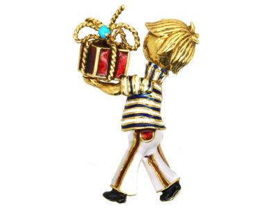 14ct Gold & Enamel Bell Boy Brooch