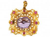 Regency 18ct Gold Ruby, Natural Split Pearl & Amethyst Pendant & Brooch