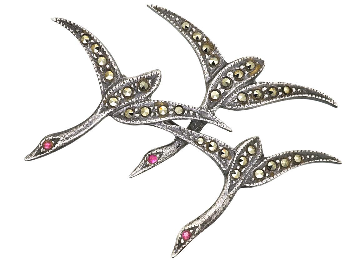 Silver & Marcasite Flying Geese Brooch