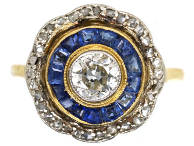 Art Deco 18ct Gold & Platinum Target Ring Set With Sapphires & Diamonds