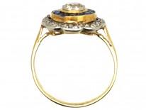Art Deco 18ct Gold & Platinum Target Ring Set With Sapphires & Diamonds