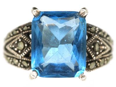 Art Deco Silver, Marcasite & Blue Paste Ring