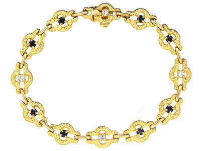 French 18ct Gold Sapphire & Diamond Bracelet