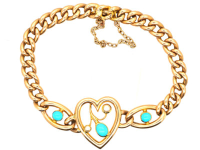 Edwardian 15ct Gold, Turquoise & Natural Split Pearl Heart Bracelet