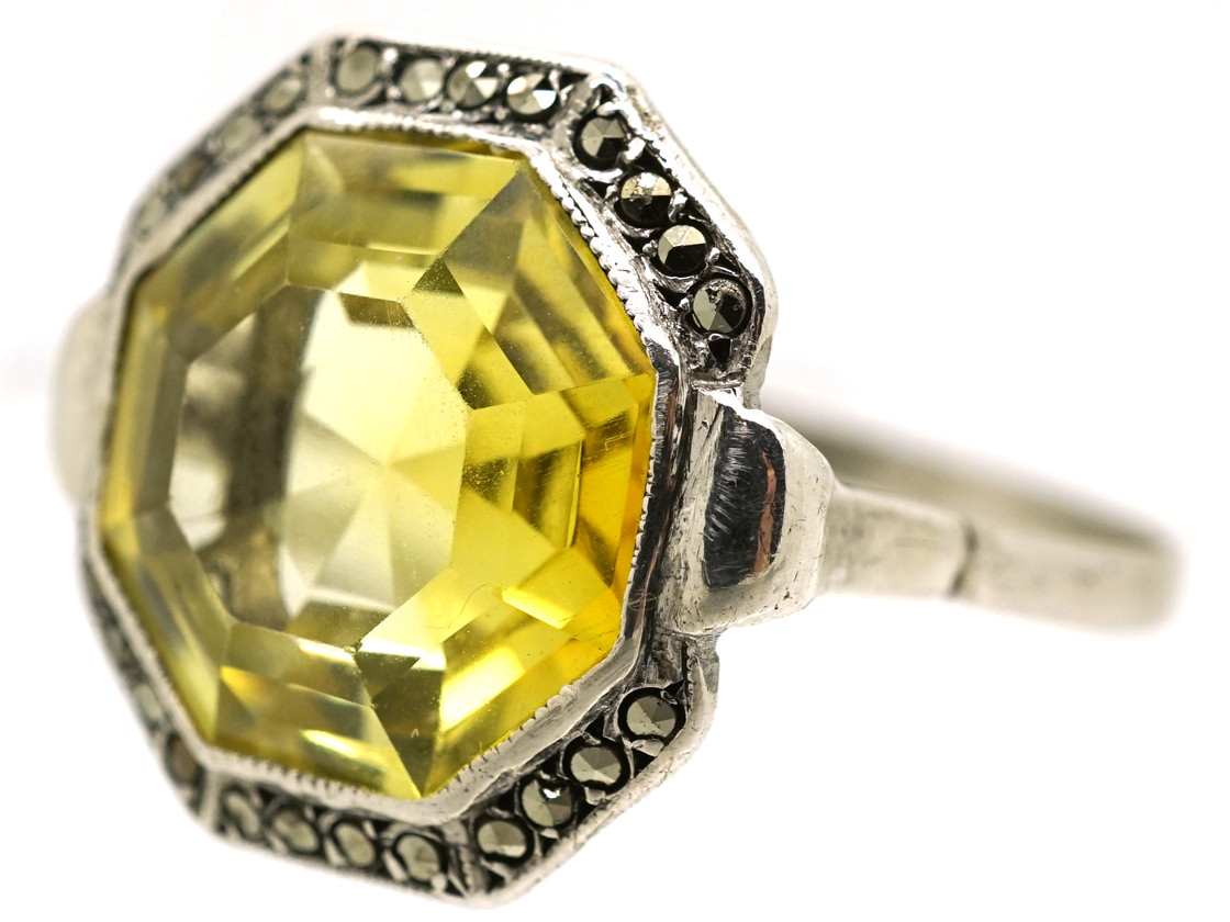 Art Deco Silver, Marcasite & Yellow Paste Ring