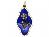 Victorian 15ct Gold & Royal Blue & White Enamel Pendant Set With a Forget Me Not Flower in Diamonds