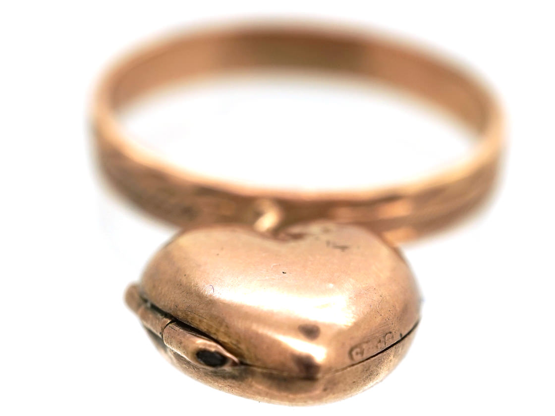 Edwardian 9ct Gold Ring With Heart Locket