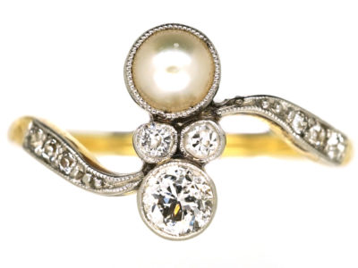 Art Nouveau 18ct Gold, Platinum, Natural Pearl & Diamond Twist Ring