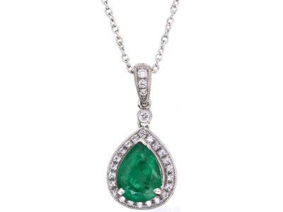 18ct White Gold Emerald & Diamond Pendant on Chain