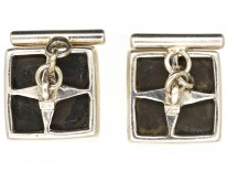 Silver, Onyx & Mother of Pearl Bow Tie Cufflinks