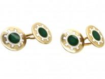 Edwardian 9ct Gold, Green & White Enamel Cufflinks