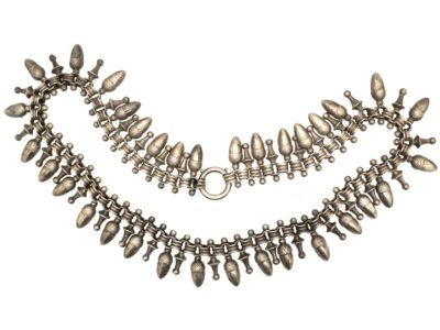 Victorian Silver Collar With Acorn Drops