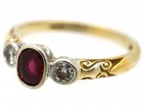 18ct Gold, Ruby & Diamond Three Stone Ring