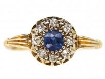 Edwardian 18ct Gold Sapphire & Diamond Cluster Ring