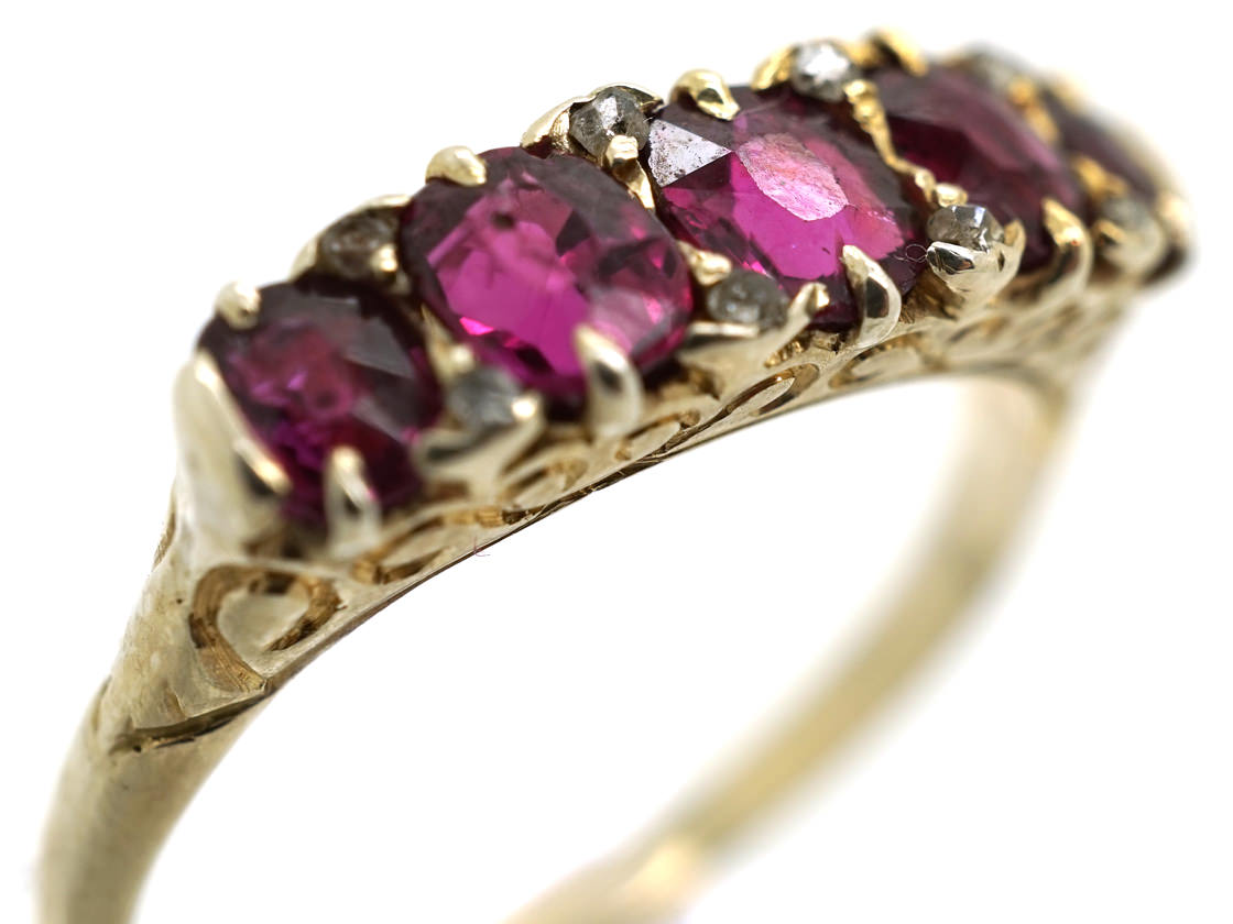 Victorian 18ct Gold Five Stone Ruby Carved Half Hoop Ring