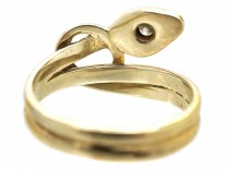 Edwardian 14ct Gold Snake Ring Set With a Diamond