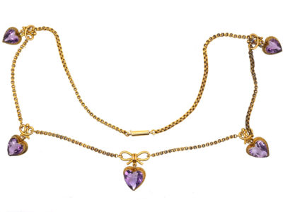 Edwardian 9ct Gold & Amethyst Hearts Necklace