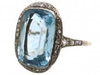 Edwardian 18ct Gold & Platinum, Aquamarine & Diamond Ring