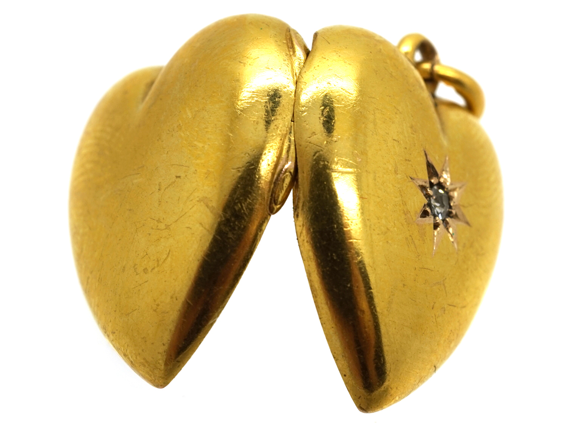 Edwardian 15ct Gold Heart Locket Set With a Diamond