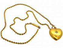 Edwardian 15ct Gold & Rose Diamond Heart Pendant on a 15ct Gold Chain