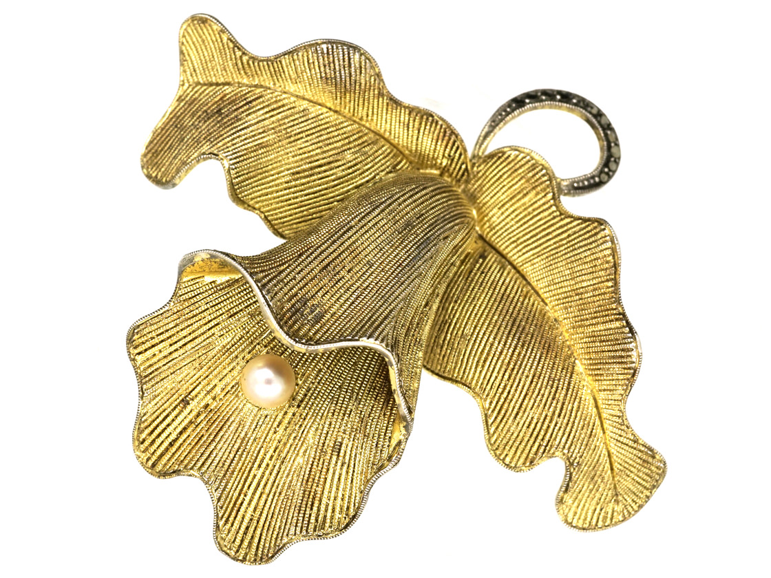 Theodor Fahrner Silver & Marcasite Orchid Brooch