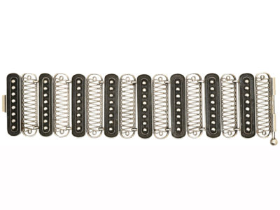 Art Deco Wide Silver Bracelet