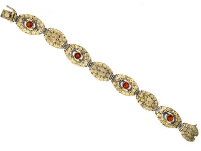Art Deco Silver, Marcasite & Citrine Bracelet By Theodor Fahrner