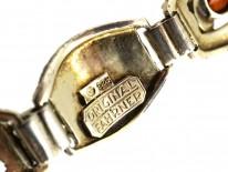 Art Deco Silver, Marcasite & Citrine Bracelet By Theodor Fahrner