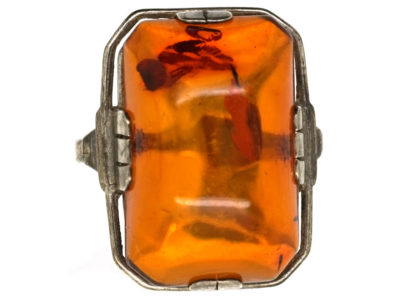 Art Deco Silver & Amber Ring