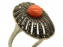 Art Deco Silver, Marcasite & Coral Oval Ring