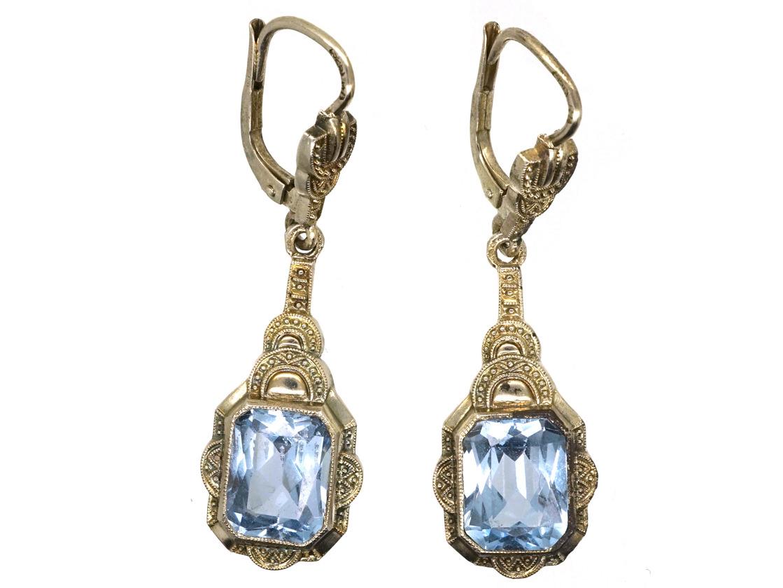 Art Deco Silver & Blue Paste Drop Earrings