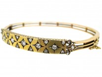 Edwardian 15ct Gold Bangle Set With Diamonds