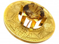 Victorian Scottish 18ct Gold Target Brooch Set With a Citrine