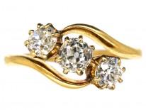 Edwardian 18ct Gold Three Stone Diamond Crossover Ring